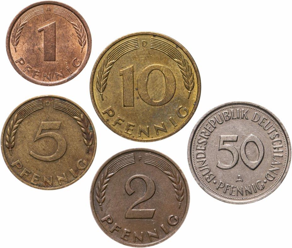 купить Германия, набор из 5 монет (1, 2, 5, 10 и 50 пфеннигов ФРГ) 1950-2001