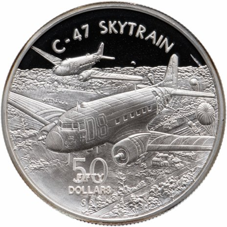 """купить Маршалловы острова 50 долларов 1991 """"Легендарные самолёты Второй мировой войны -Дуглас «Скайтрэйн»  (U.S. C47 Skytrain)"""""""