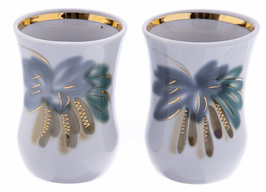 купить Набор из двух стаканов с растительным декором, фарфор, роспись,  золочение, Полонский фарфоровый завод, УССР, 1973-1991 гг.