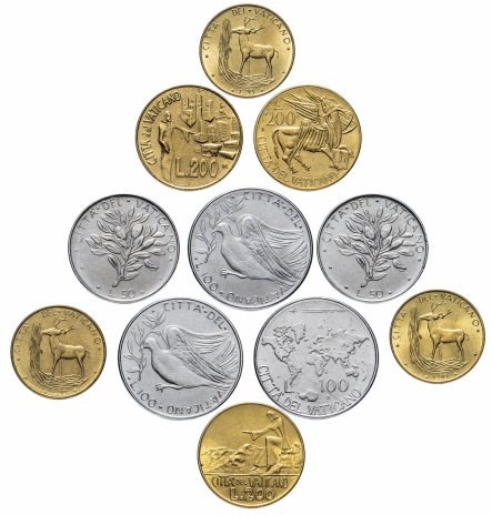купить Ватикан набор из 11 монет 1971-1991