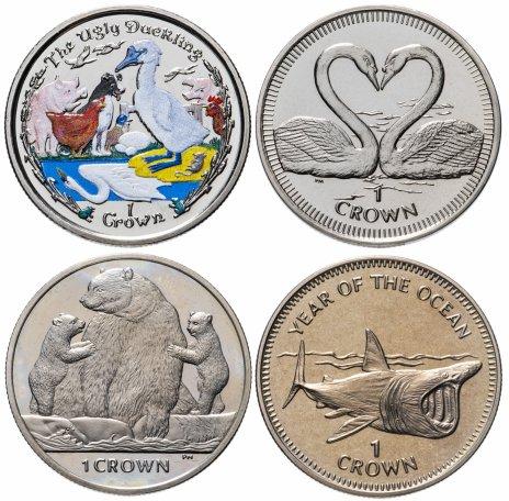 купить Остров Мэн набор из 4-х монет 1 крона 1998-2013