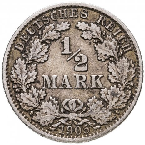 """купить Германия (Германская Империя) 1/2 марки 1905 """"G"""""""