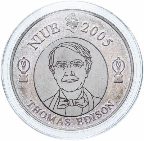 """купить Ниуэ 1 доллар 2005 """"125 лет со дня изобретения электрической лампочки, Томас Эдисон"""""""