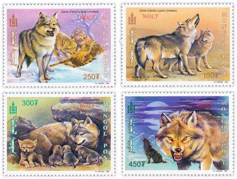 """купить Монголия набор из 4 марок 1999 """"Волки"""""""