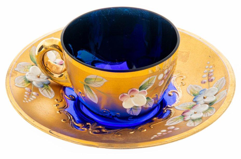 купить Кофейная пара с цветочным лепным декором, стекло, золочение, Богемия, Чехословакия, 1970-1990 гг.