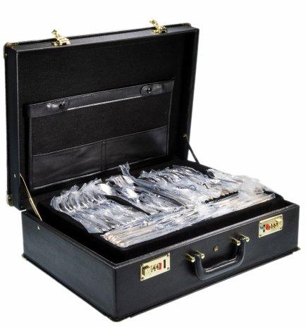 """купить Набор столовых приборов из стали с позолотой на 12 персон (110 предметов) """"Solingen"""", Германия, в футляре"""