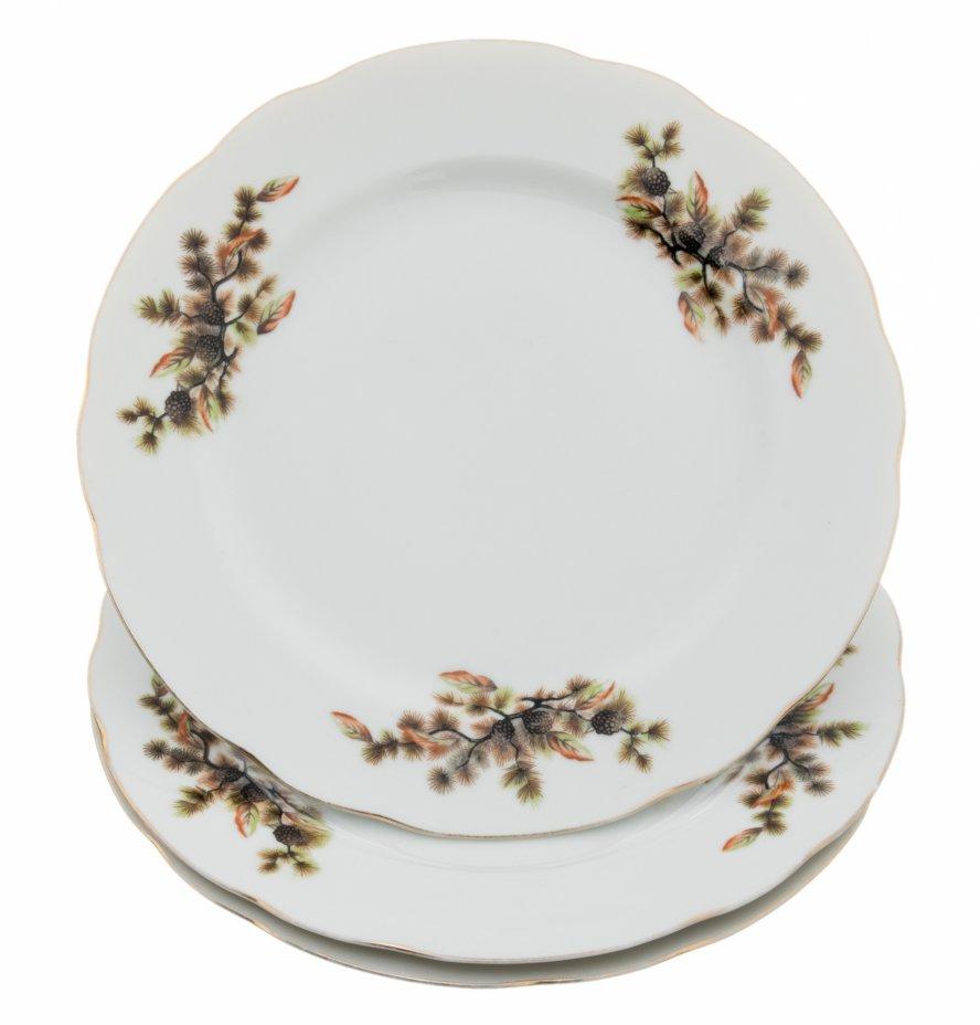 """купить Набор тарелок """"Кедр"""" на три персоны, фарфор, деколь, фабрика """"Tono China"""", Япония, 1960-1970 гг."""