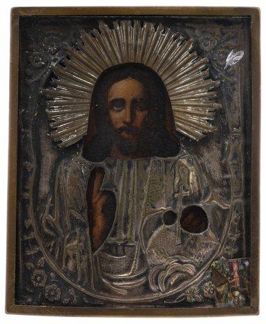 """купить Икона """"Господь Вседержитель"""" в окладе и раме, дерево, смешанная техника, латунь, стекло, Российская Империя, 1880-1900 гг."""