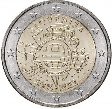 """купить Словения 2 евро 2012 """"10 лет евро"""""""