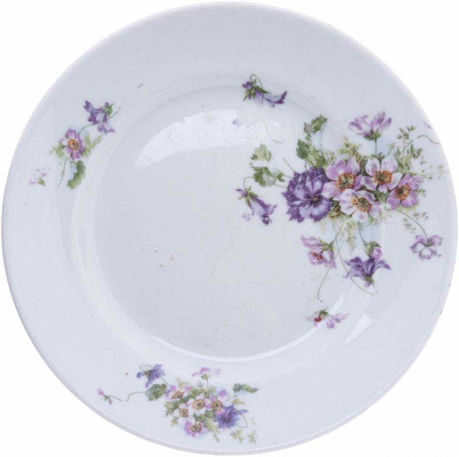 купить Тарелка столовая с цветочным декором, фарфор, деколь, СССР, 1920-1940 гг.