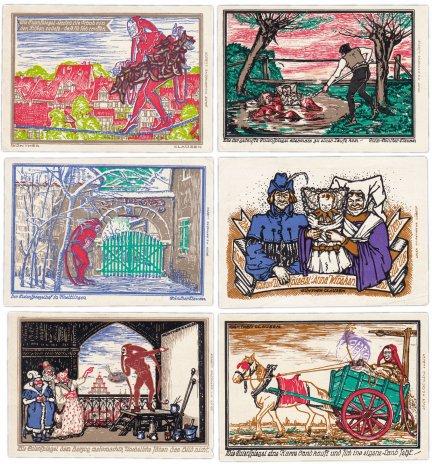 """купить Германия (Нижняя Саксония : Кнайтлинген) набор из 6 нотгельдов 1921  """"Легенды о Тиле Уленшпигеле"""""""