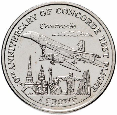 """купить Остров Мэн 1 крона 1992 """"40-летие тестового полета самолета """"Конкорд"""""""