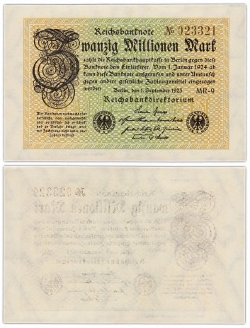 купить Германия 20 миллионов марок 1923 (Pick 108) Со знаком номера