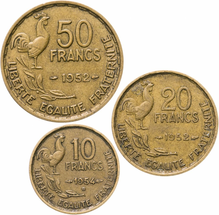 купить Франция, набор из 3 монет 1952-1954