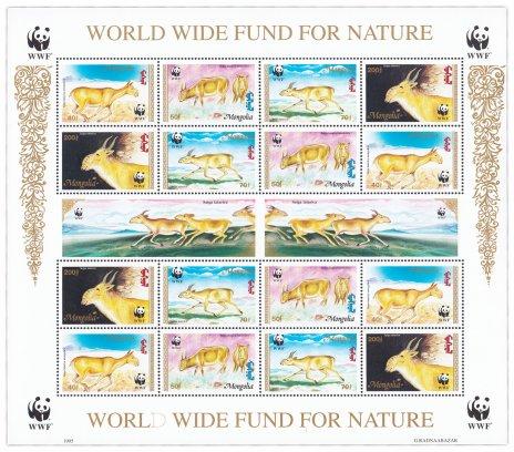 """купить Монголия блок из 16 марок 2001 """"Всемирный фонд дикой природы"""""""
