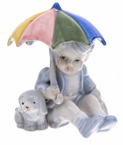 """купить Статуэтка """"Мальчик с щенком под зонтиком """", фарфор, роспись, Китай, 2000-2020 гг."""