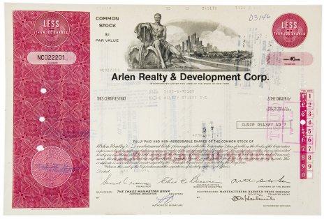 купить Акция США Arlen Realty & Development Corp., 1976 г.