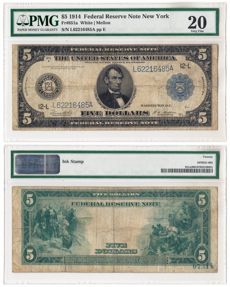 купить США 5 долларов 1914 Series 1914 (Pick 359) San Francisco, White-Mellon в слабе PMG VF 20
