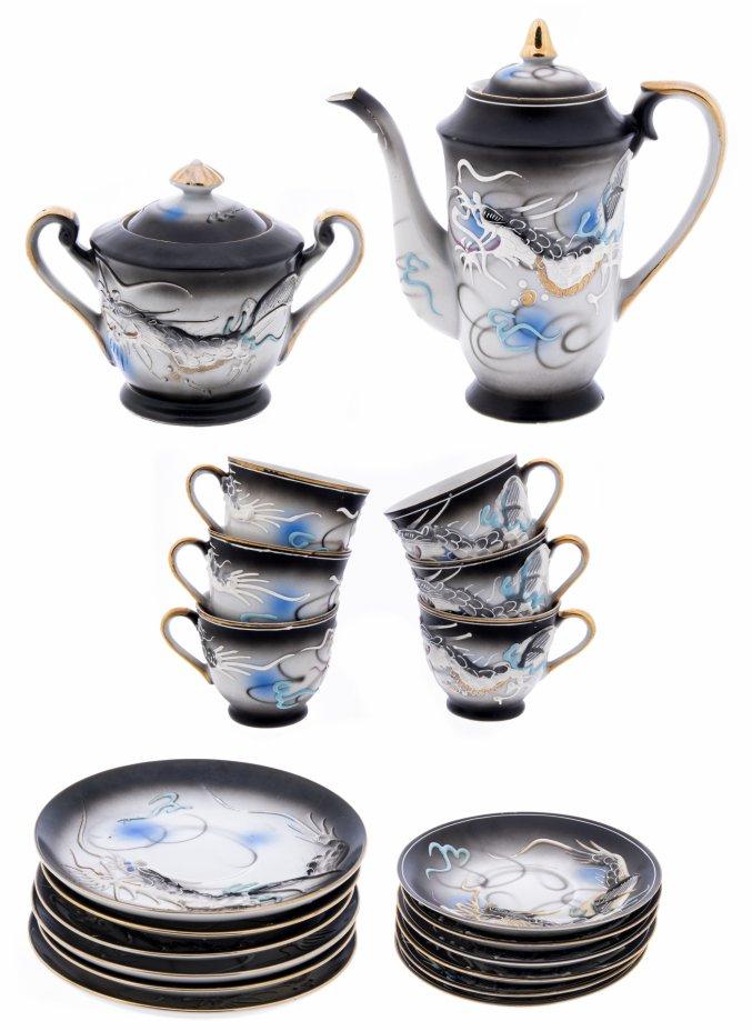 купить Сервиз кофейный с рельефным изображением дракона , на 6 персон (20 предметов), фарфор, лепнина, роспись, золочение, Япония 1980-2000 гг.