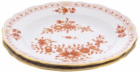 """купить Тарелки парные  """"Индийский цветок"""", фарфор, роспись, деколь, золочение, Meissen porcelain manufactory, Германия, 1957 г."""