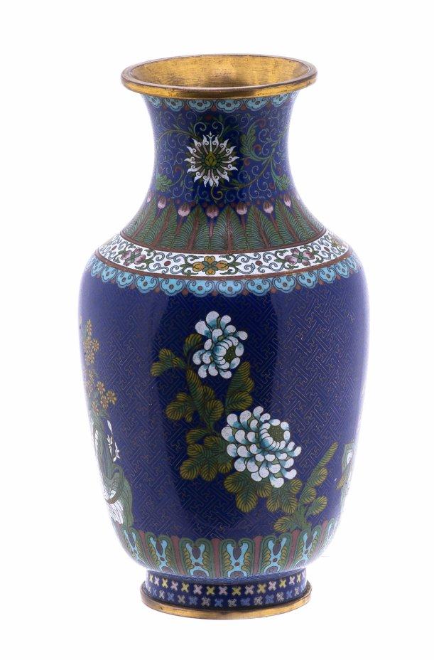купить Ваза с растительным орнаментом в технике клуазоне, медь, золочение, эмаль, Китай, 1950-1970 гг.