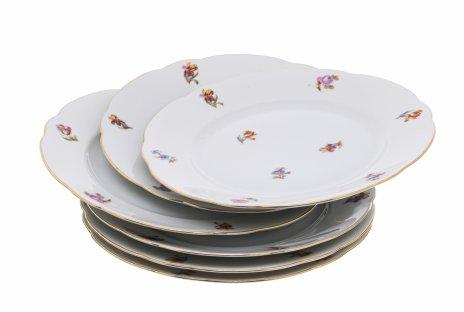 """купить Набор из шести десертных тарелок с цветочным декором, фарфор, деколь, фабрика """"Schönwald Porcelain Factory"""", Германия, 1930-1950 гг."""