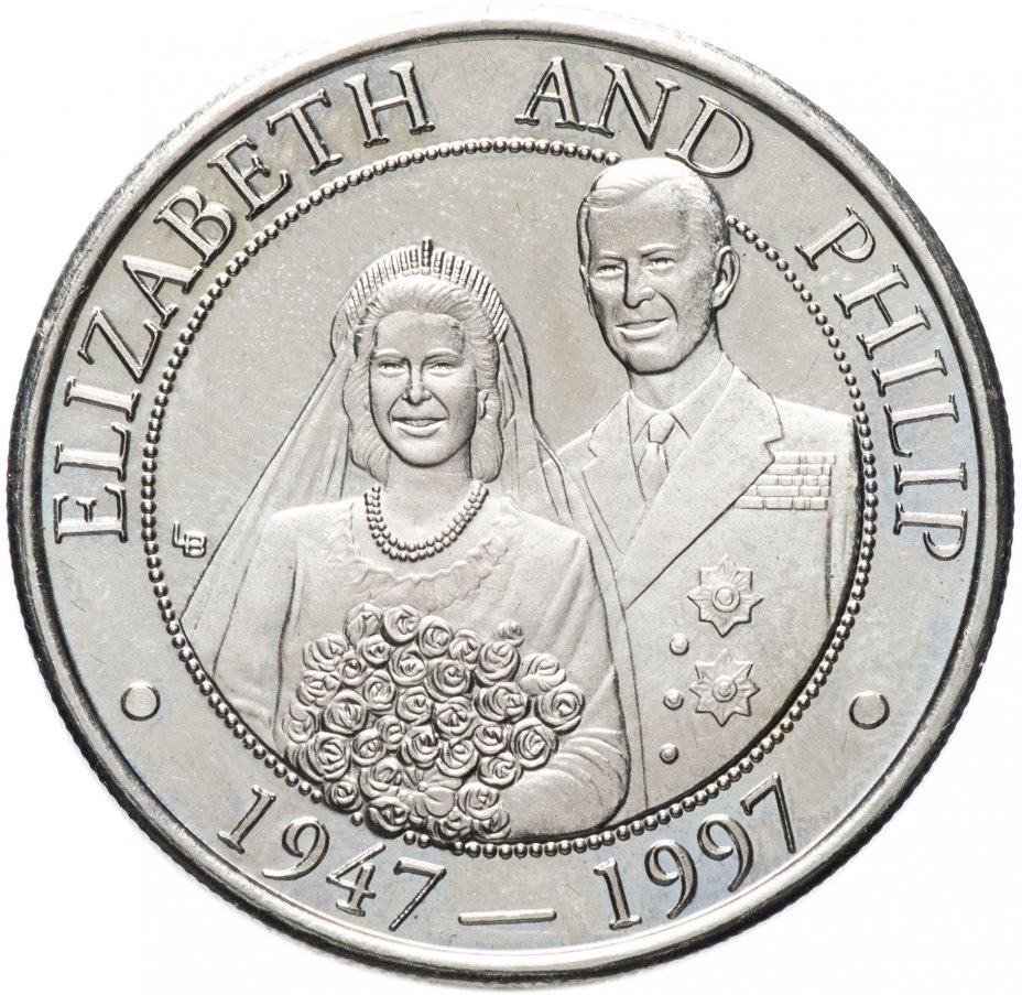 купить Тёркс и Кайкос 5 крон (crowns) 1997 50 лет свадьбе Королевы Елизаветы II и Принца Филиппа /в пол роста/