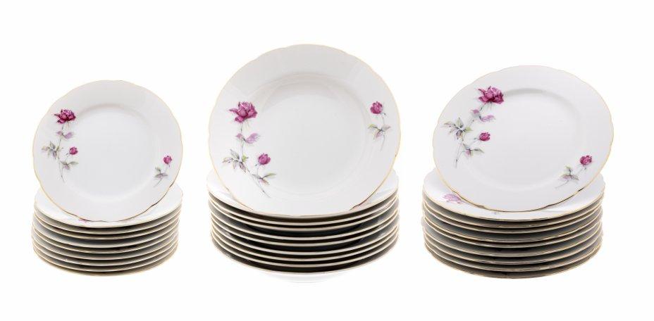 """купить Набор тарелок на 10 персон (30 предметов), фарфор, деколь, золочение, мануфактура """"Tono China"""", Япония, 1990-2000 гг."""