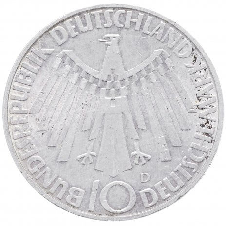 "купить ФРГ 10 марок 1972 F ""Олимпиада в Мюнхене -Эмблема In München"""