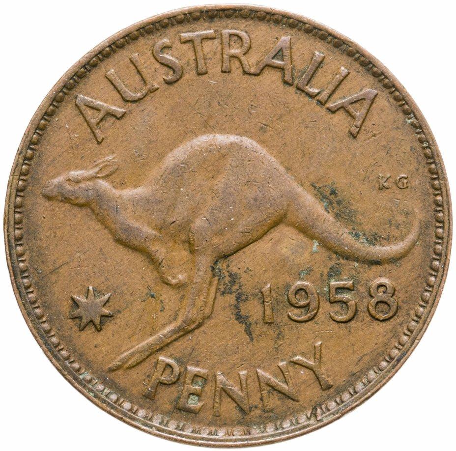 """купить Австралия 1 пенни (penny) 1958 Без точки после """"PENNY"""" - Монетный двор Мельбурна"""