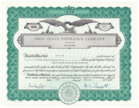 купить Акция США FIRST STATE INSURANCE COMPANY 1966