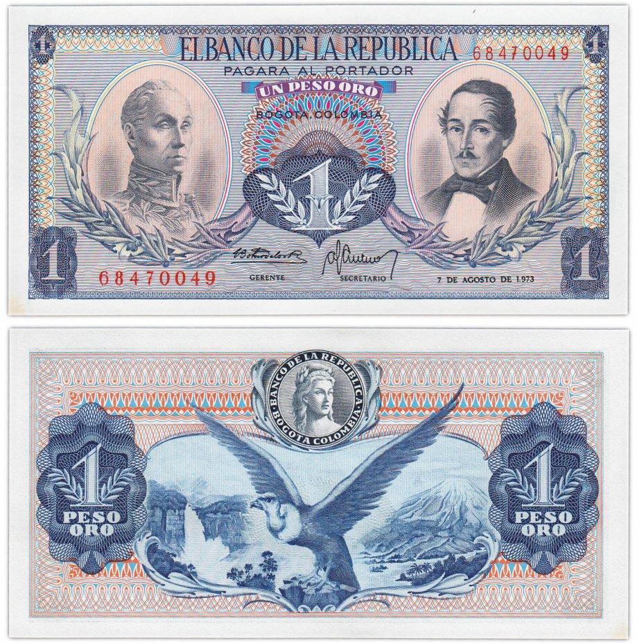 купить Колумбия 1 песо 1973 (Pick 404e)