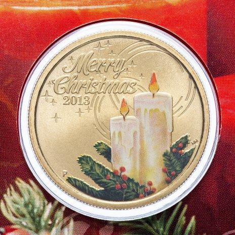 """купить Австралия 1 доллар 2013 """"Рождество"""" (в конверте, с маркой)"""
