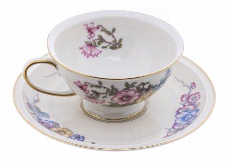 """купить Пара чайная с цветочным декором, фарфор, деколь, мануфактура """"Rosenthal"""", Германия, 1922 г."""