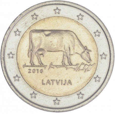 купить Латвия 2 евро 2016 Корова
