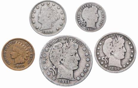 купить США комплект из 5 монет от 1 до 50 центов 1864-1916 гг.