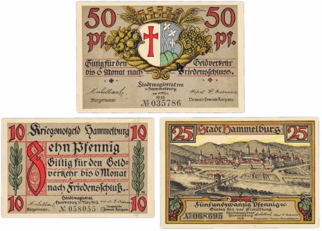 купить Германия (Бавария: Хаммельбург) набор из 3-х нотгельдов 1918