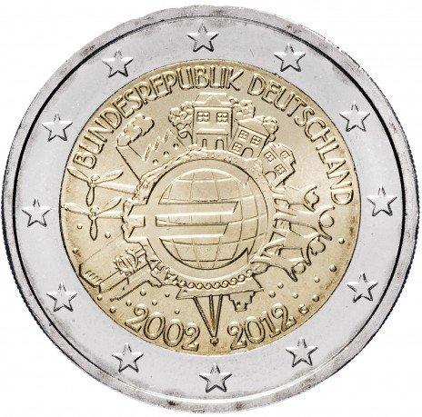 """купить Германия 2 евро 2012 G """"10 лет евро"""""""