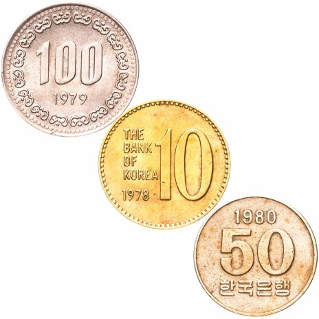 купить Южная Корея 100 50 10 вон 1973-1980 набор из 3 монет