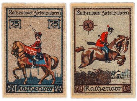 купить Германия (Бранденбург: Ратенов) набор из 2-х нотгельдов 1921 Гусарская серия (1099.1/В2)