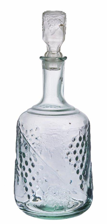 купить Графин с рельефным декором виноградная лоза, стекло, СССР, 1950-1970 гг.