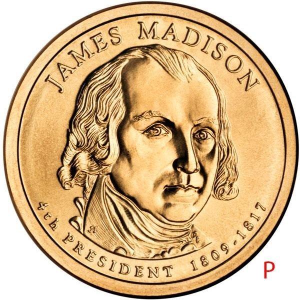 купить 1 доллар 2007 P Джеймс Мэдисон (4-й президент США)