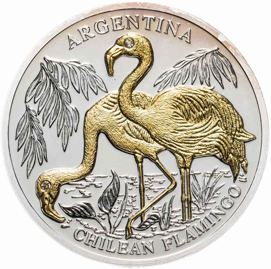 """купить Либерия 10 долларов 2005 """"Вымирающие виды  - Чилийский фламинго"""""""