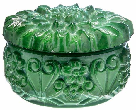купить Шкатулка круглой формы с растительным рельефным декором, малахитовое стекло, Богемия, Чехословакия, 1950-1970 гг.