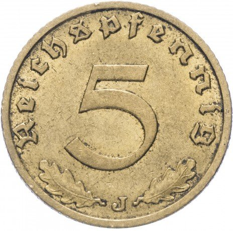"""купить Фашистская Германия (Третий Рейх) 5 рейх пфеннигов 1938 """"J"""""""