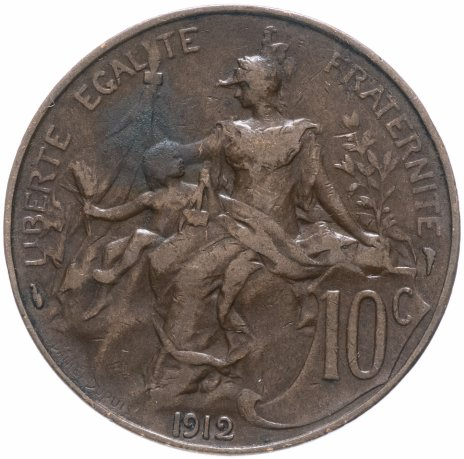 купить Франция 10 сантимов (centimes) 1912