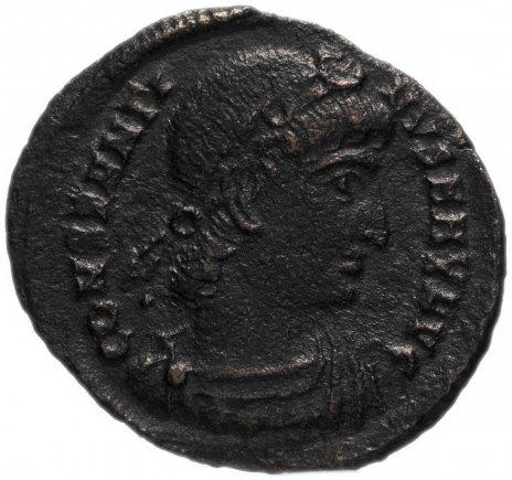 купить Римская Империя Константин I 306–337 гг фоллис (реверс: два воина стоят лицом друг к другу, между ними один штандарт)