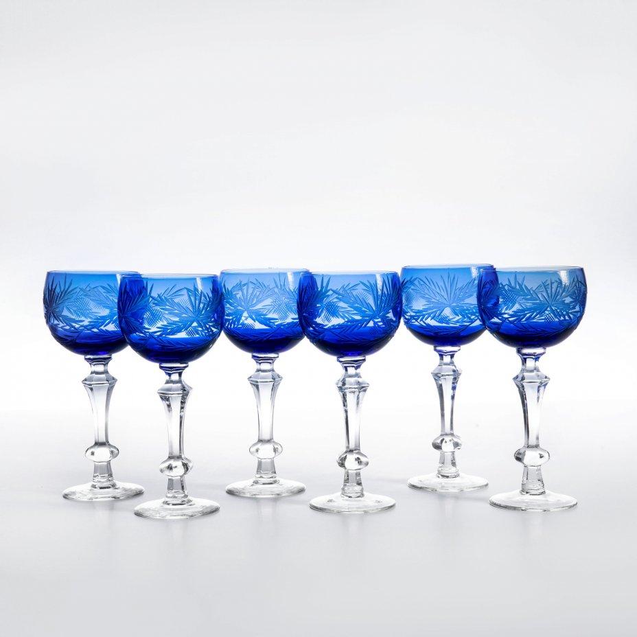 купить Набор из шести фужеров декорированных в технике алмазная грань, хрусталь, СССР, 1970-1990 гг.