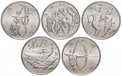 """купить Япония комплект из 5 монет 100 иен 2019 """"XXXII Летние Олимпийские игры в Токио 2020"""""""