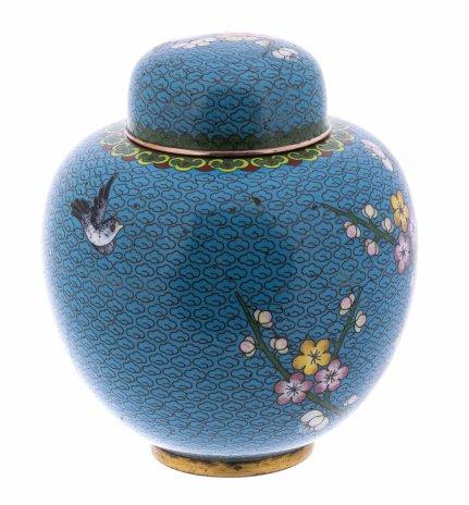 купить Емкость для хранения чая (чайница) с цветочным декором, латунь, клуазоне, Китай, 1950-1980 гг.
